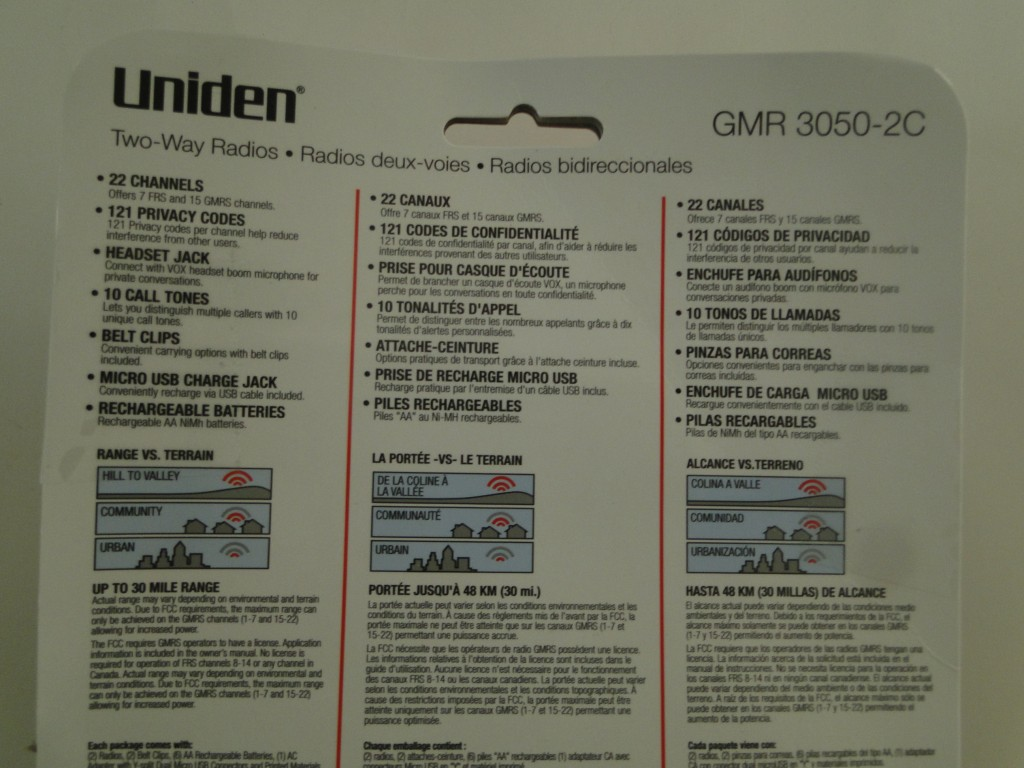 UNIDEN GMR3050-2C 30-Mile 2-Way FRS GMRS Radios Features