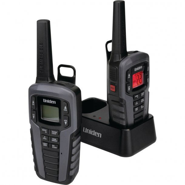 Uniden SX377-2CKHS Up to 37 Mile Range FRS Two-Way Radio Walkie Talkies w/ Dual Charging Cradle, Waterproof, Floats, 22 Channels, 142 Privacy Codes, NOAA Weather Scan + Alerts, Includes 2 Headsets